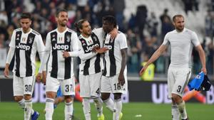 Juventus' Moise Kean, Martin Caceres and team mates celebrate after the match(REUTERS)