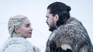 Emilia Clarke and Kit Harington in a still from Game of Thrones.