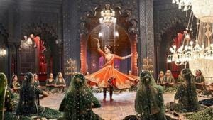 Madhuri Dixit in a shot from a new song called Tabah Hogaye from Kalank, which will debut on Tuesday.(Instagram)