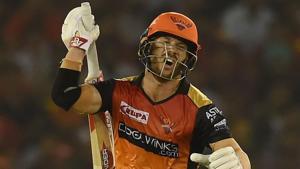Sunrisers Hyderabad batsman David Warner reacts after playing a shot during the 2019 Indian Premier League.(AFP)