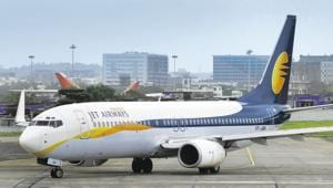 Jet Airways, part-owned by Abu Dhabi's Etihad Airways PJSC, needs 85 billion rupees to get back on its feet after a fare war by budget airlines wiped out profits and it racked up debt of more than $1 billion.(MINT FILE PHOTO)