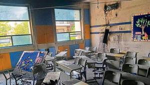 Some benches and school bags were damaged in the fire.(Sourced)