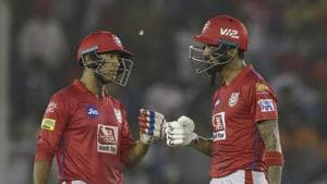 Mayank Agarwal of Kings XI Punjab and KL Rahul of Kings XI Punjab share a moment in the middle.(AP)