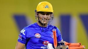 File image of CSK skipper MS Dhoni in action during a training session.(PTI)