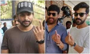Telugu stars Chiranjeevi, Ram Charan, Jr NTR, Allu Arjun cast their vote. See pics