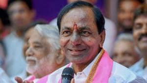Telangana chief minister and TRS chief K Chandrasekhar Rao is looking to repeat his party's massive performance in the assembly elections in December.(PTI)