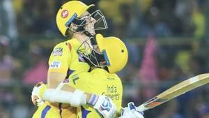 Chennai Super Kings' Ravindra Jadeja, right, and Mitchell Santner celebrate their victory.(AP)