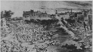 1919 - A Scene of Jallianwala Bagh Massacre at Amritsar.