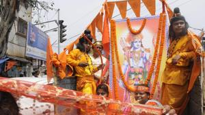 File Photo: Biswa Hindu Parisad (VHP) supporters took out rally with bikes and festoon of Ram to celebrate Ram Navami at Baghajatin, Jadavpur area in Kolkata, India, on Sunday, March 25, 2018. Lot of police were present in the rally. (Photo by Samir Jana/ Hindustan Times)(Samir Jana/HT PHOTO)