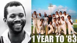 Malcolm Marshall (left) and Ranveer Singh's team in 83.(Twitter)