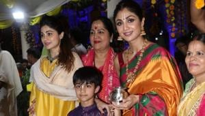 Shilpa Shetty at Iskcon temple in Mumbai for Ram Navami celebrations.(Varinder ChawlaInstagram)
