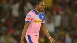 Rajasthan Royals bowler Jofra Archer celebrates after he dismissed Kings XI Punjab cricketer Chris Gayle.(AFP)
