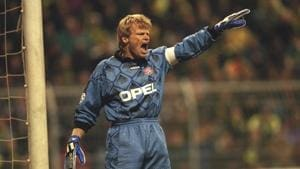 18 Mar 1998: Goalkeeper Oliver Kahn of Bayern Munich shouts some orders during the match between Borussia Dortmund and Bayern Munich in the European Champions League Quarter-Finals played at the Westfalenstadion, Dortmund, Germany. Borussia Dortmund won1-0. Mandatory Credit: Ben Radford /Allsport(Getty Images)
