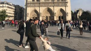 Tourist Brooke Windsor, 23, says she took the picture about an hour before the blaze ripped through the Paris landmark's main stone structure.(Twitter/@brookeawindsor)