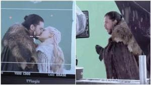 Game of Thrones: Kit Harington gags after kissing Emilia Clarke in hilarious behind-the-scene footage