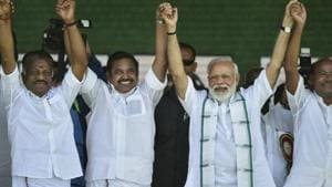 The PMK and its founder S Ramadoss (centre) are betting on the BJP returning to power with a significantly smaller majority.(PTI File Photo)