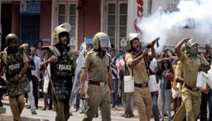 Agitators, who were blocking National Highway 31, also hurled crude bombs at the personnel of the local police and Rapid Action Force, officials said.(PTI FILE)