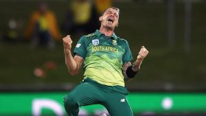 Dale Steyn of South Africa celebrates after taking the wicket of Alex Carey of Australia during game three of the One Day International series between Australia and South Africa at Blundstone Arena on November 11, 2018 in Hobart, Australia.(Getty Images)