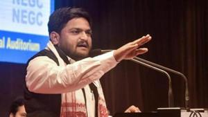 Congress leader Hardik Patel slapped at an election rally in Gujarat's Surendranagar(PTI)