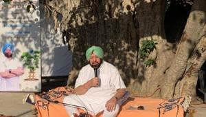 Sitting under a 'peepal' tree at Chuahr Majra village in Kharar, 20km from Chandigarh, Amarinder Singh took a wide range of questions received on Twitter and directly from people.(HT Photo)