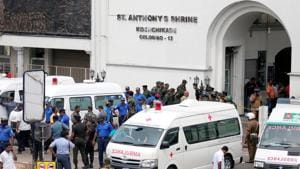 Sri Lanka, April 21 (ANI): Sri Lankan military officials stand guard in front of the St. Anthony's Shrine, Kochchikade church after an explosion in Colombo, Sri Lanka on Sunday(REUTERS)