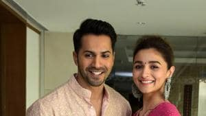 Varun Dhawan and Alia Bhatt during a press conference to promote Kalank in Jaipur.(PTI)