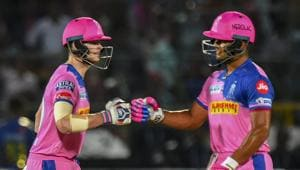 RR Captain Steve Smith and teammate Riyan Parag during the Indian Premier League 2019.(PTI)