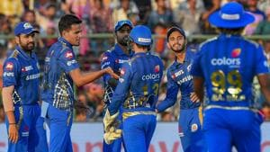 MI players celebrate the dismissal of RR Captain Ajinkya Rahane during Indian Premier League 2019 (IPL T20) cricket match between Rajasthan Royals (RR) and Mumbai Indians (MI) at Sawai Mansingh Stadium, Jaipur, Saturday, April 20, 2019.(PTI)