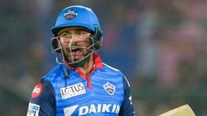 Delhi Capitals cricketer Rishabh Pant celebrates after hitting the winning runs.(AFP)