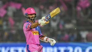 Jaipur: Rajsthan Royals batsman Ajinkya Rahane celebrates his century during the Indian Premier League 2019 cricket match against Delhi Capitals at Sawai Mansingh Stadium in Jaipur, Monday, April 22 2019(PTI)