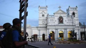 Security personnel stand guard outside St. Anthony's Shrine in Colombo on April 23, 2019, two days after the church was hit in a series of bomb blasts targeting churches and luxury hotels in Sri Lanka.(AFP)