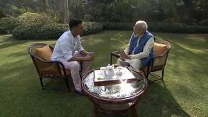 Prime Minister Narendra Modi being interviewed by actor Akshay Kumar.(BJP4iIndia/Twitter)