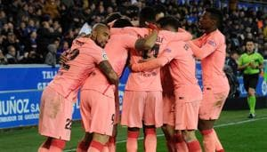 Barcelona's players celebrate their second goal during the Spanish league football match between Deportivo Alaves and FC Barcelona at the Mendizorroza stadium in Vitoria on April 23, 2019(AFP)