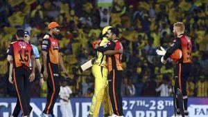 Chennai Super Kings' Dwayne Bravo, center left, hugs Rasheed Khan of Sunrisers Hyderabad at the end of the VIVO IPL T20 cricket match between Chennai Super Kings and Sunrisers Hyderabad in Chennai, India, Tuesday, April 23, 2019)(AP)
