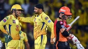 Chennai: CSK bowler Harbhajan Singh celebrates with skipper MS Dhoni the dismissal of SRH batsman David Warner during the Indian Premier League 2019 (IPL T20) cricket match between Chennai Super Kings (CSK) and Sunrisers Hyderabad (SH), at MAC Stadium in Chennai, Tuesday, April 23, 2019(PTI)
