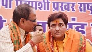 BJP candidate for Bhopal Lok Sabha constituency, Sadhvi Pragya Singh Thakur, with BJP national vice president Shivraj Singh Chouhan at a meeting before filing her nomination paper for elections, Bhopal, April 25(ANI)