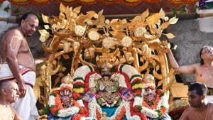 Three golden crowns adorning the deities Lord Govinda Raja Swamy and his consorts Bhudevi and Sri Devi were stolen from the Govinda Raja Swamy temple at Tirupati in Andhra Pradesh on February 2.(HT FILE PHOTO)