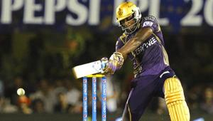 Kolkata Knight Riders' (KKR's) Andre Russell plays a shot against Rajasthan Royals (RR) during the IPL 2015 match between the two sides in Mumbai on May 16. (Pratham Gokhale/HT Photo)(HT Photo)