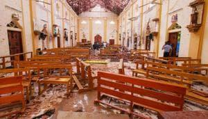 Crime scene officials inspect the site of a bomb blast inside St Sebastian's Church in Negombo, Sri Lanka, April 21, 2019(REUTERS)