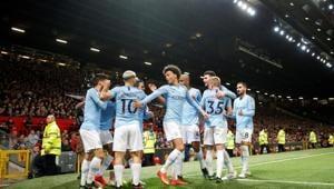 Manchester City's Bernardo Silva celebrates scoring their first goal with team mates(Action Images via Reuters)