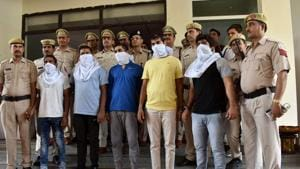The police busted a gang of six alleged criminals, suspected to be close aides of gangster Kaushal, who is wanted in more than 200 cases of murder, attempt to murder, extortion and robbery, the police said Friday.(Yogesh Kumar/Hindustan Times)