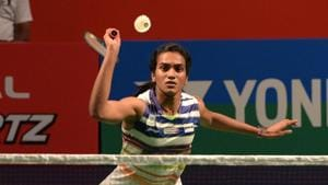 New Delhi, India - March 27, 2019: PV Sindhu of India in action against Mugdha Agrey of India during India Open 2019, at KD Jadhav Indoor Stadium, in New Delhi, India, on Wednesday, March 27, 2019. (Photo by Mohd Zakir / Hindustan Times)(Mohd Zakir/HT PHOTO)