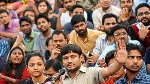 Among those from the Bollywood to have come to campaign for Kanhaiya were actresses Swara Bhaskar and Shabana Azmi, her husband Javed Akhtar, and director and producer Prakash Raj(HT Photo)