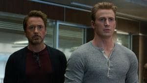 This image released by Disney shows, from left Robert Downey Jr. and Chris Evans in a scene from Avengers: Endgame. (Disney/Marvel Studios via AP)(AP)