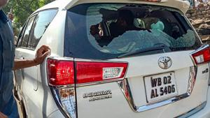 BJP candidate Babul Supriyo's SUV that was allegedly attacked by the TMC supporters while he was heading to visit a polling station, during 4th phase of Lok Sabha polls, in Asansol, Monday,(PTI)
