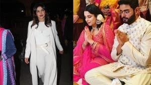 Priyanka Chopra at the airport and her brother Siddharth Chopra with his fiance Ishita Kumar.