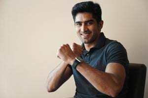 Boxer Vijender Singh is preparing to contest the general election from the South Delhi constituency on a Congress ticket.(Gokul VS/HT)
