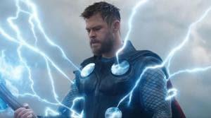 Chris Hemsworth as Thor in a still from the Avengers: Endgame trailer.