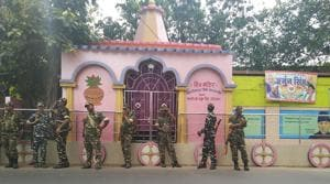 Central forces deployed outside a temple near Jagaddal police station in West Bengal.(HT PHOTO)