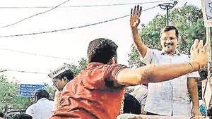 Delhi Chief Minister Arvind Kejriwal was slapped by a man during a roadshow in Moti Nagar, New Delhi, Saturday.(PTI)